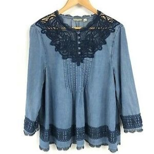 Holding Horses Anthropology brand chambray blouse